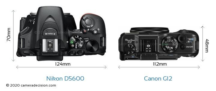 Nikon D5600 vs Canon G12 Camera Size Comparison - Top View