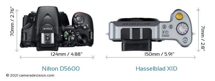 Nikon D5600 vs Hasselblad X1D Camera Size Comparison - Top View