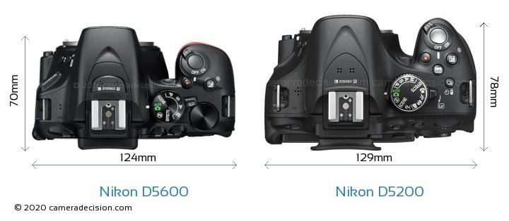 Nikon D5600 vs Nikon D5200 Camera Size Comparison - Top View