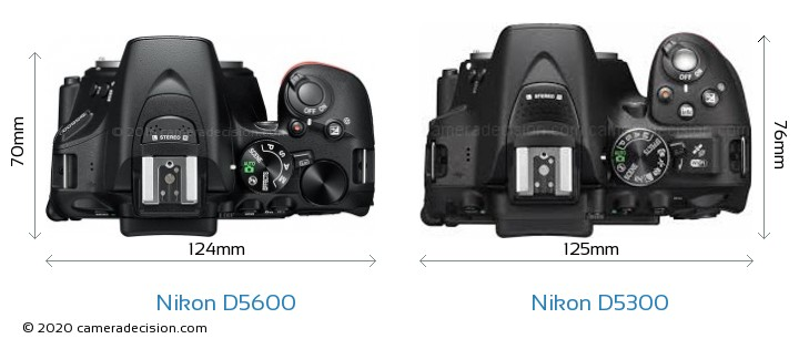 Nikon D5600 vs Nikon D5300 Camera Size Comparison - Top View