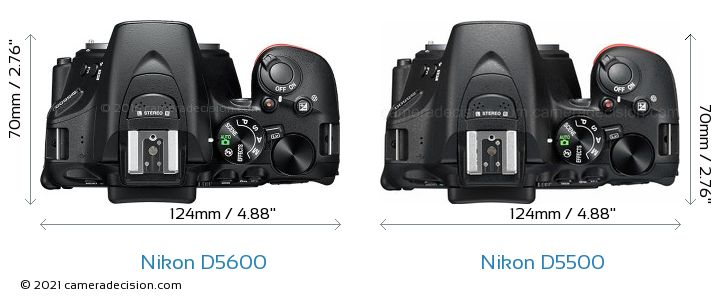Nikon D5600 vs Nikon D5500 Camera Size Comparison - Top View
