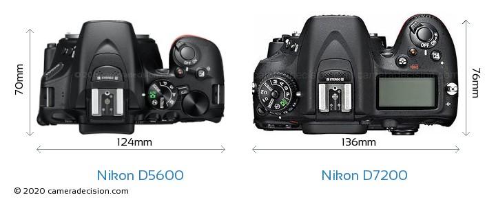 Nikon D5600 vs Nikon D7200 Camera Size Comparison - Top View