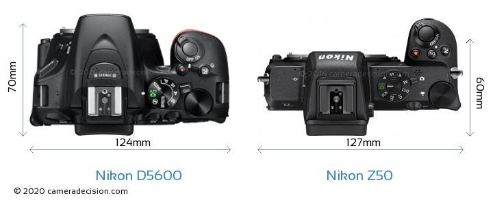 Nikon D5600 vs Nikon Z50 Camera Size Comparison - Top View