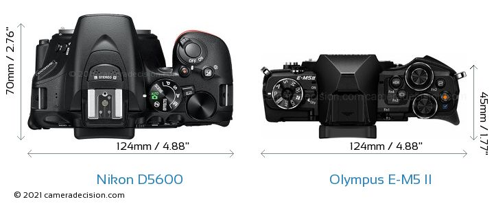 Nikon D5600 vs Olympus E-M5 II Camera Size Comparison - Top View