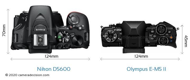 Nikon D5600 vs Olympus E-M5 II Camera Size Comparison - Top View