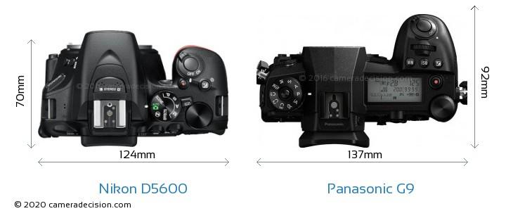 Nikon D5600 vs Panasonic G9 Camera Size Comparison - Top View