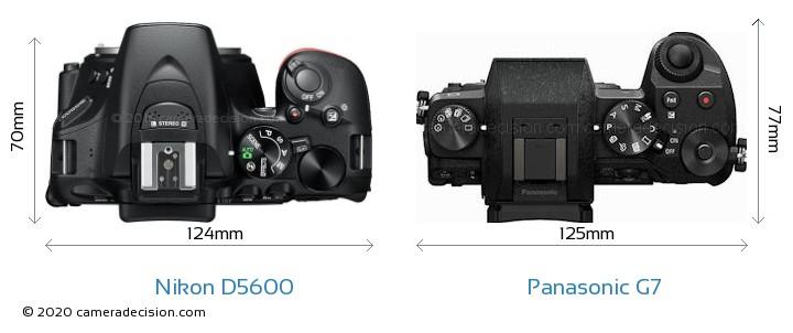 Nikon D5600 vs Panasonic G7 Camera Size Comparison - Top View