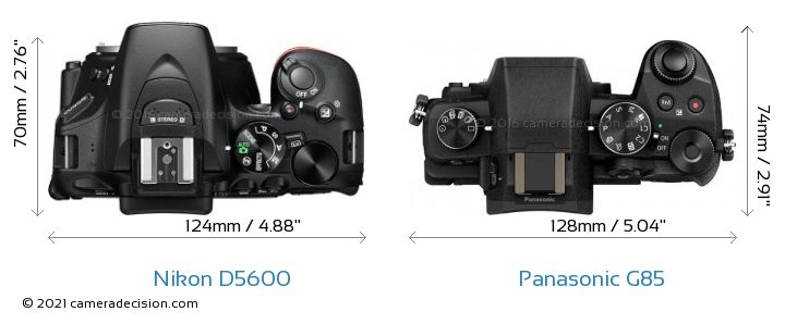 Nikon D5600 vs Panasonic G85 Camera Size Comparison - Top View