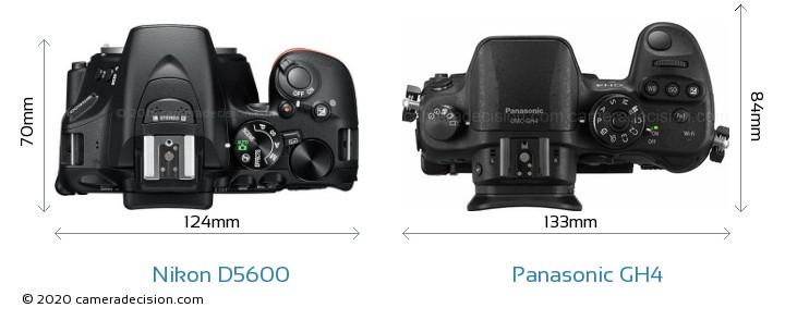 Nikon D5600 vs Panasonic GH4 Camera Size Comparison - Top View