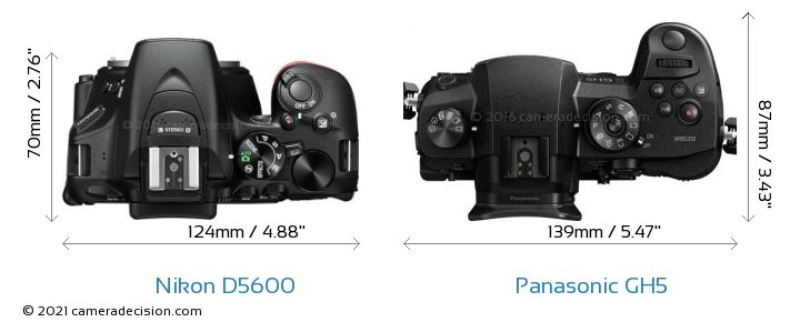 Nikon D5600 vs Panasonic GH5 Camera Size Comparison - Top View