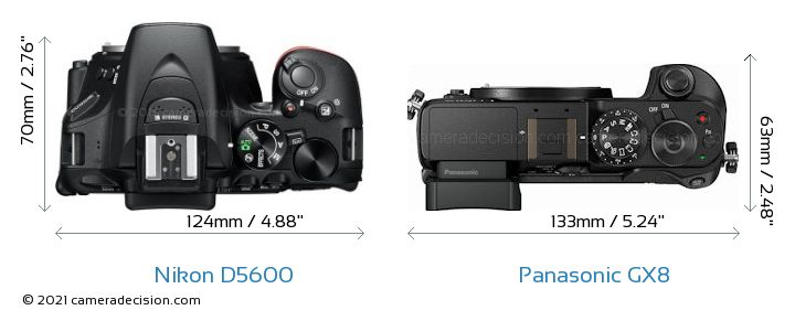 Nikon D5600 vs Panasonic GX8 Camera Size Comparison - Top View