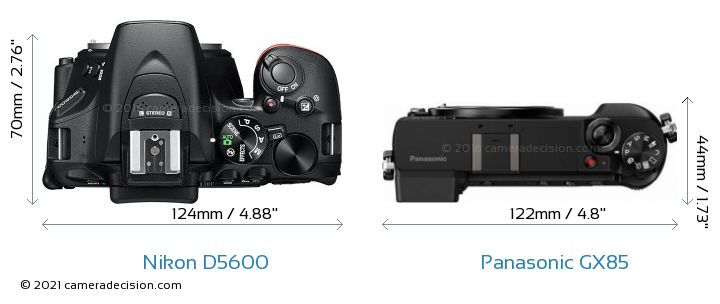 Nikon D5600 vs Panasonic GX85 Camera Size Comparison - Top View