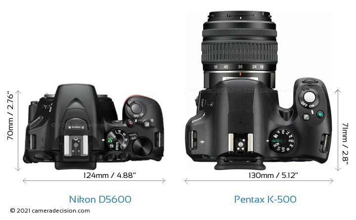 Nikon D5600 vs Pentax K-500 Camera Size Comparison - Top View