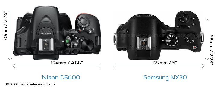 Nikon D5600 vs Samsung NX30 Camera Size Comparison - Top View