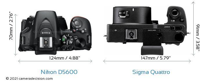 Nikon D5600 vs Sigma Quattro Camera Size Comparison - Top View