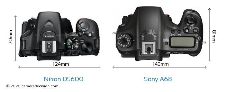 Nikon D5600 vs Sony A68 Camera Size Comparison - Top View