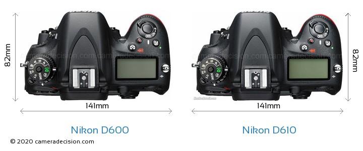 Nikon D600 vs Nikon D610 Camera Size Comparison - Top View