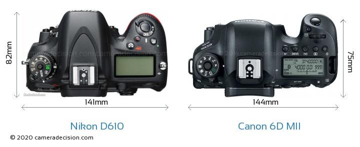 Nikon D610 vs Canon 6D MII Camera Size Comparison - Top View