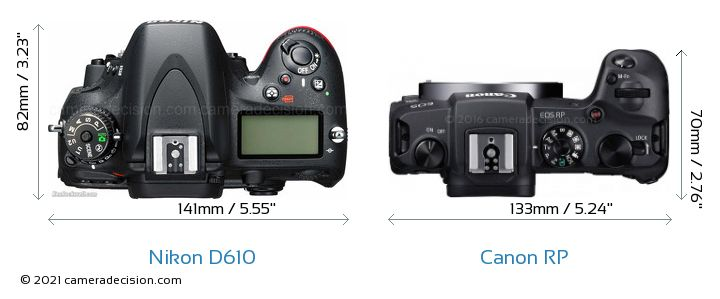 Nikon D610 vs Canon RP Camera Size Comparison - Top View