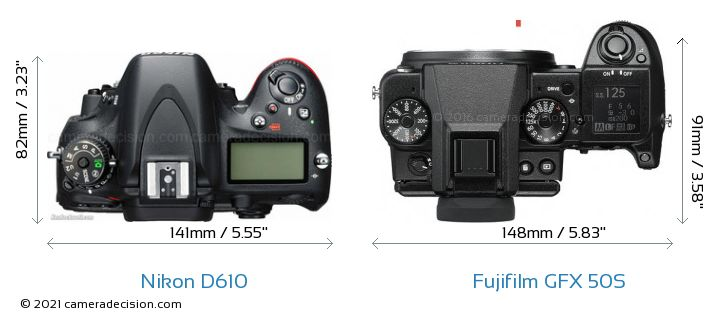 Nikon D610 vs Fujifilm GFX 50S Camera Size Comparison - Top View