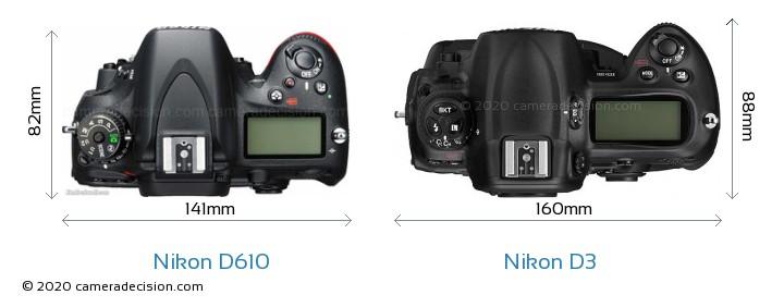 Nikon D610 vs Nikon D3 Camera Size Comparison - Top View