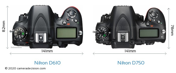 Nikon D610 vs Nikon D750 Camera Size Comparison - Top View