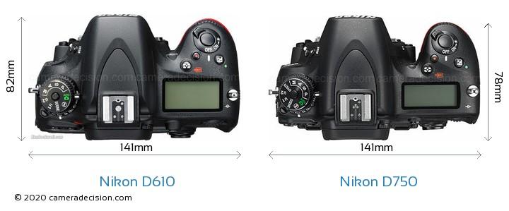 Nikon D610 vs Nikon D750 Camera Size Comparison - Top View