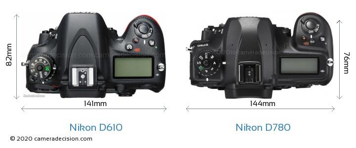 Nikon D610 vs Nikon D780 Camera Size Comparison - Top View