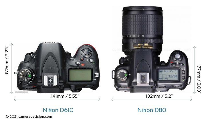 Nikon D610 vs Nikon D80 Camera Size Comparison - Top View