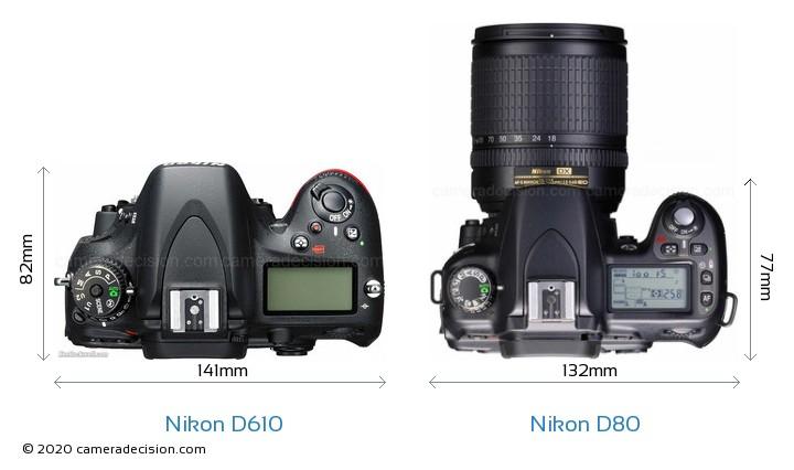 Nikon D610 vs Nikon D80 Camera Size Comparison - Top View