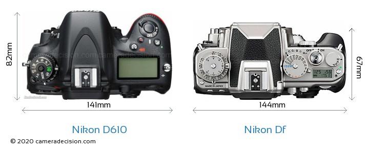Nikon D610 vs Nikon Df Camera Size Comparison - Top View