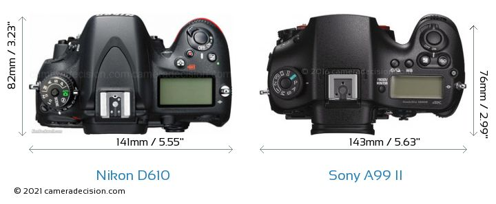 Nikon D610 vs Sony A99 II Camera Size Comparison - Top View