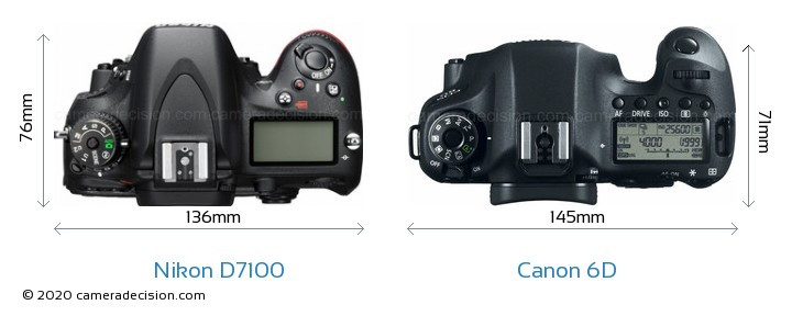 Nikon D7100 vs Canon 6D Camera Size Comparison - Top View
