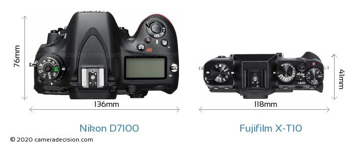 Nikon D7100 vs Fujifilm X-T10 Camera Size Comparison - Top View