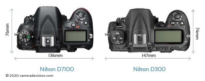 Nikon D7100 vs Nikon D300 Camera Size Comparison - Top View