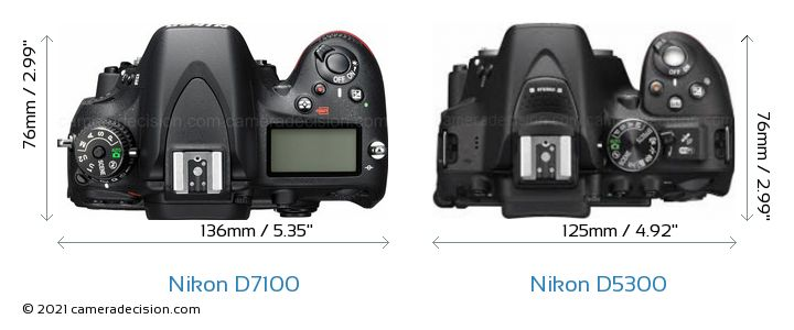 Nikon D7100 vs Nikon D5300 Camera Size Comparison - Top View