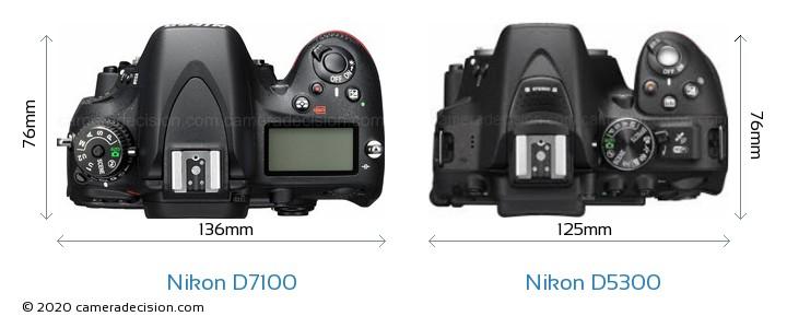 Nikon D7100 vs Nikon D5300 Camera Size Comparison - Top View