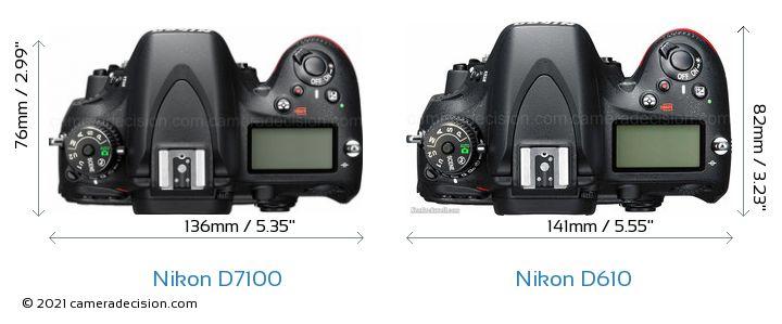 Nikon D7100 vs Nikon D610 Camera Size Comparison - Top View
