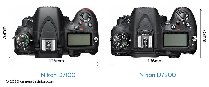 Nikon D7100 vs Nikon D7200 Camera Size Comparison - Top View