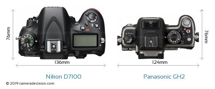 Nikon D7100 vs Panasonic GH2 Camera Size Comparison - Top View