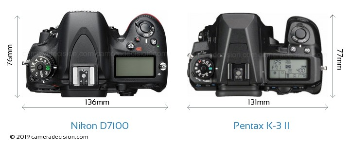 Nikon D7100 vs Pentax K-3 II Camera Size Comparison - Top View