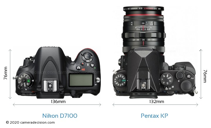 Nikon D7100 vs Pentax KP Camera Size Comparison - Top View