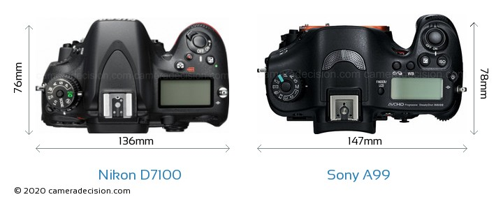 Nikon D7100 vs Sony A99 Camera Size Comparison - Top View