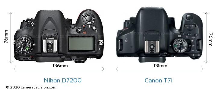 Nikon D7200 vs Canon T7i Camera Size Comparison - Top View