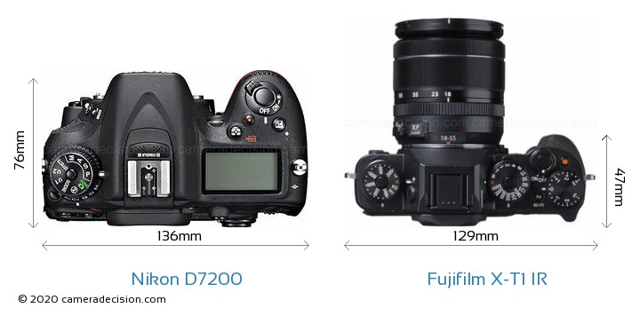 Nikon D7200 vs Fujifilm X-T1 IR Camera Size Comparison - Top View