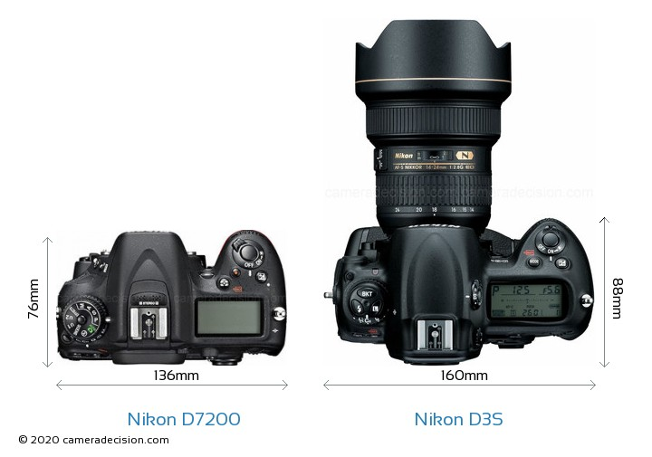 Nikon D7200 vs Nikon D3S Camera Size Comparison - Top View