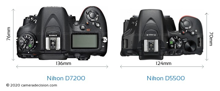 Nikon D7200 vs Nikon D5500 Camera Size Comparison - Top View