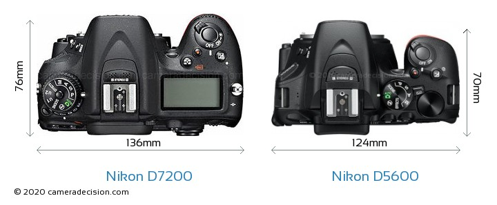 Nikon D7200 vs Nikon D5600 Camera Size Comparison - Top View