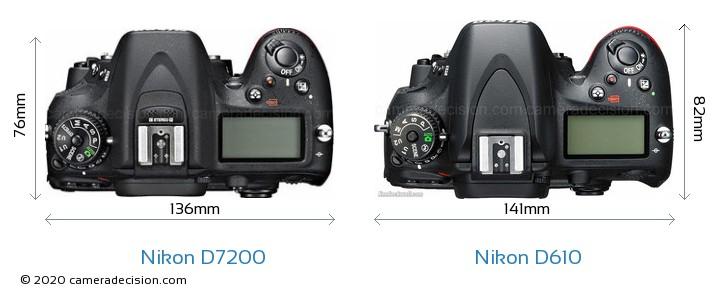 Nikon D7200 vs Nikon D610 Camera Size Comparison - Top View