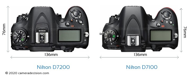 Nikon D7200 vs Nikon D7100 Camera Size Comparison - Top View